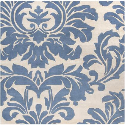Athena ATH-5076 4' Square Traditional Rug in Denim
