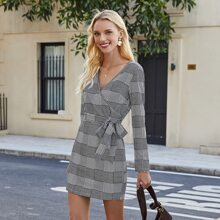 Surplice Neck Plaid Belted Fitted Dress