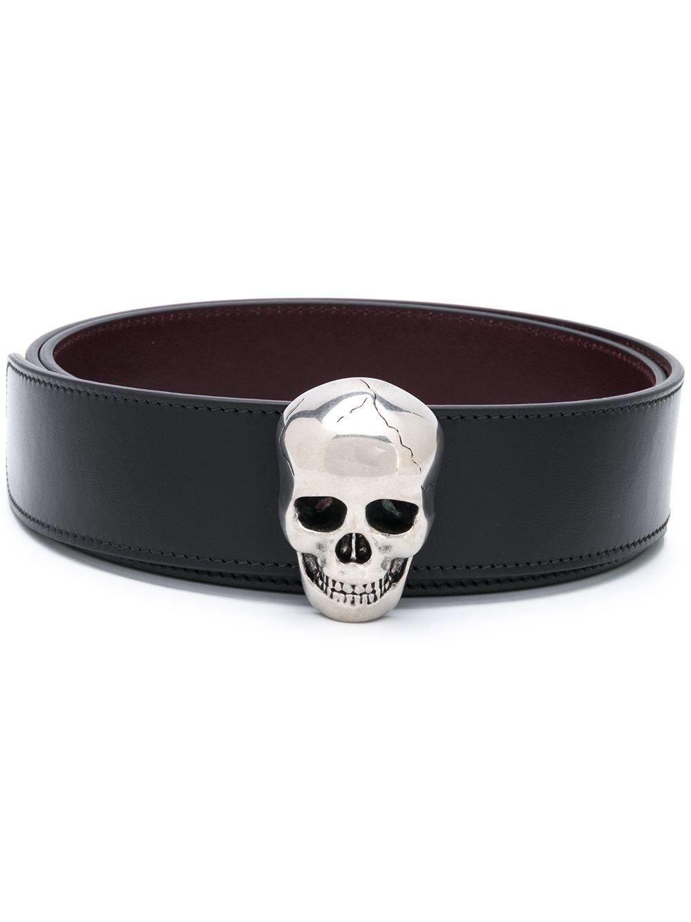 Skull Leather Buckle Belt