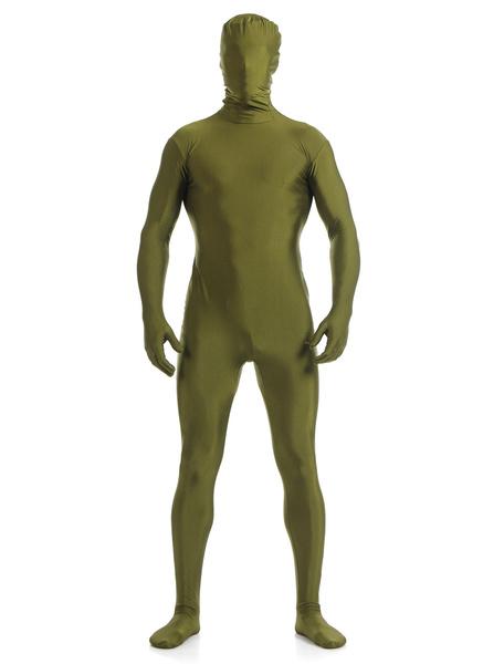 Milanoo Disfraz Halloween Oscuro verde Lycra Spandex Zentai traje para los hombres Halloween