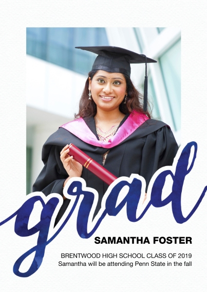 Graduation Announcements 5x7 Cards, Premium Cardstock 120lb with Rounded Corners, Card & Stationery -Grad Bold Script