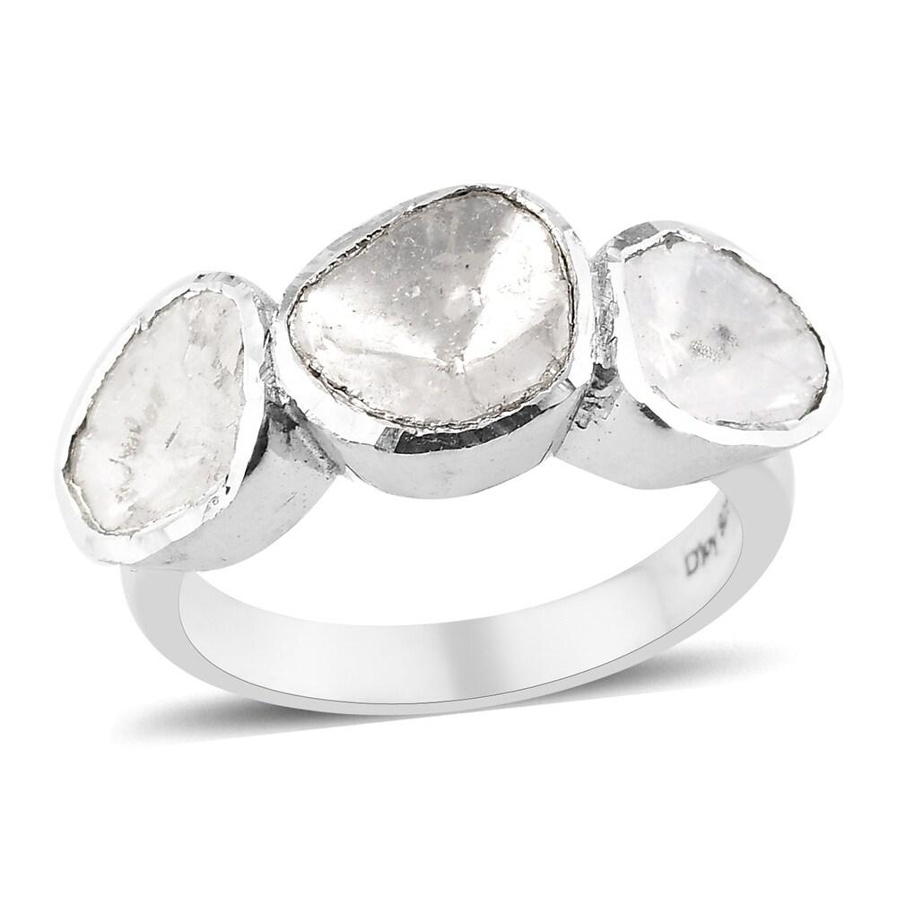 Boho 925 Sterling Silver Polki Diamond 3 Stone Ring Size 7 Ct 1 - Ring 7 (Ring 7)