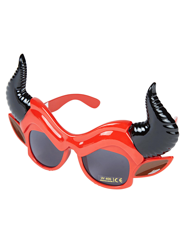 Kostuemzubehor Brille mit Teufelshornern schwarz