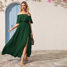 Solid Split Thigh Foldover Bardot Dress