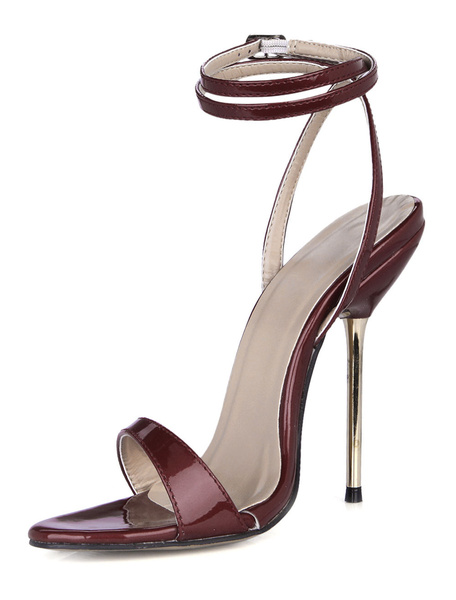 Milanoo Burgundy Stiletto Heel Patent PU Upper Dress Sandals