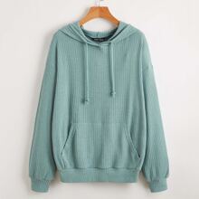 Drop Shoulder Kangaroo Pocket Rib-knit Drawstring Hoodie