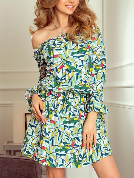 Milanoo Summer Dress Off The Shoulder Print Beach Dress