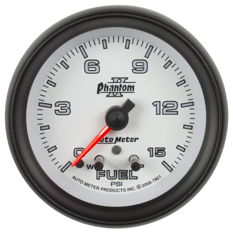 AutoMeter GAUGE; FUEL PRESS; 2 5/8in.; 15PSI; STEPPER MOTOR W/PEAK/WARN; PHANTOM II
