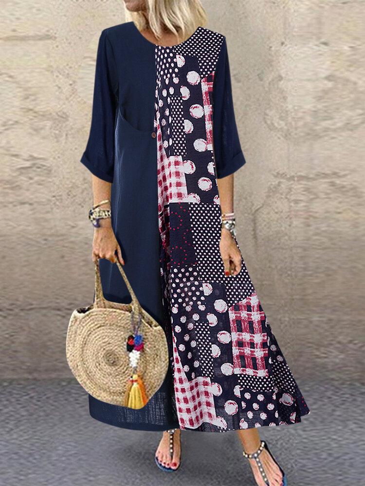 Polka Dot Print Patchwork Plus Size Dress for Women