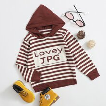 Toddler Boys Letter And Striped Hooded Sweater