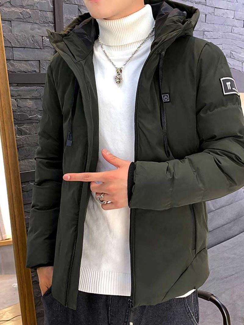 Ericdress Zipper Hooded Plain Casual Style Men's Down Jacket