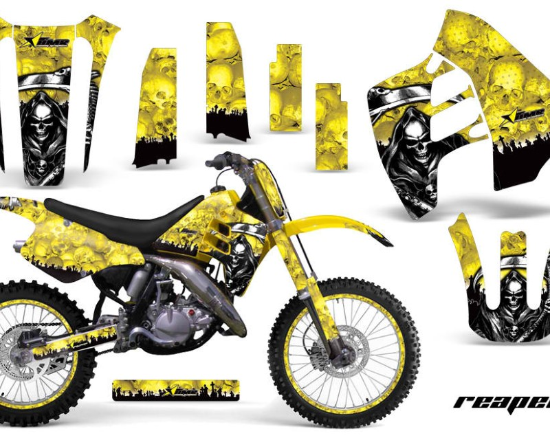 AMR Racing Graphics MX-NP-SUZ-RM125-90-92-RP Y Kit Decal Sticker Wrap + # Plates For Suzuki RM125 RM250 1990-1992 REAPER YELLOW