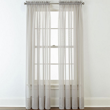 Home Expressions Lisette Rod-Pocket Sheer Panel, One Size , Gray