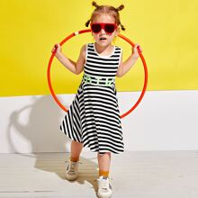 Toddler Girls Striped And Letter Graphic Tank Dress