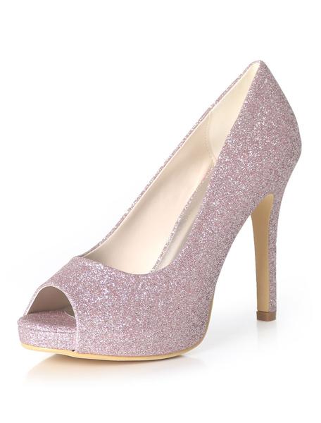 Milanoo Zapatos de novia Tela-brillante 11cm Zapatos de Fiesta negro  de tacon de stiletto Zapatos de boda de punter Peep Toe Pumps de Noche & Pumps d