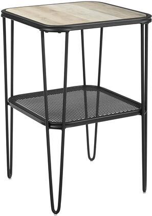 AF16LOSTGW 16    Urban Industrial Mesh Metal Shelf Hairpin Leg Side Table in Grey