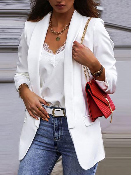 Milanoo Blazer para mujer Chaqueta casual de manga larga con cuello en V blanca