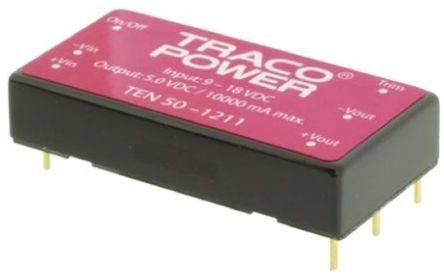 TRACOPOWER TEN 50 50W Isolated DC-DC Converter Through Hole, Voltage in 18 → 36 V dc, Voltage out 3.3V dc