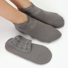 2 pares calcetines tobilleros con encaje en contraste