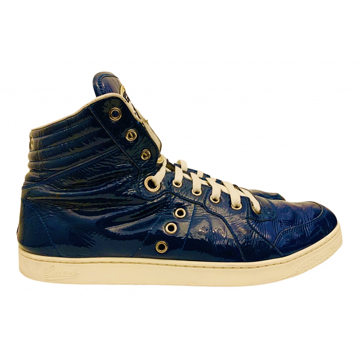 Gucci N Blue Patent leather Trainers for Men 10.5 US