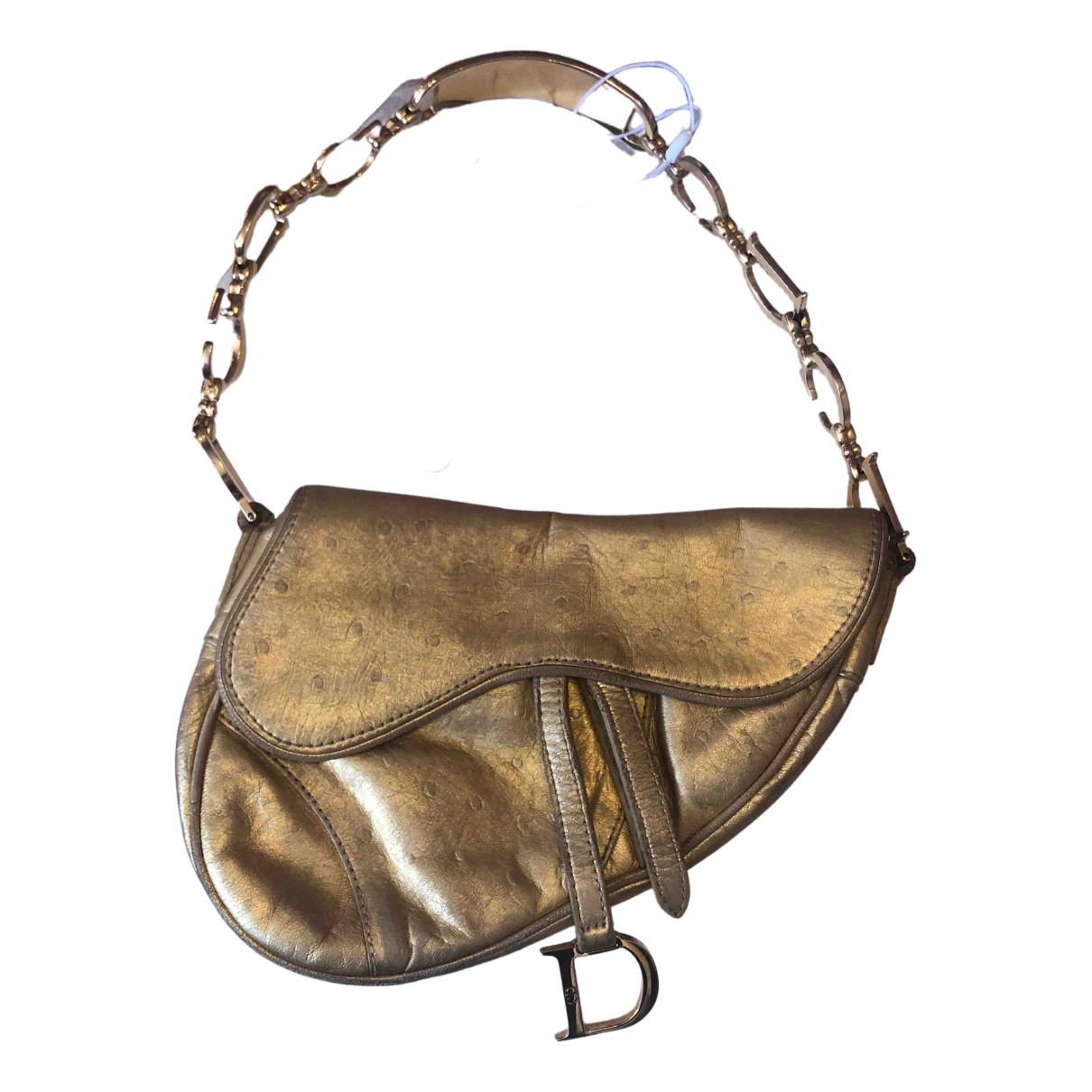 Dior - Sac a main Saddle pour femme en autruche - dore