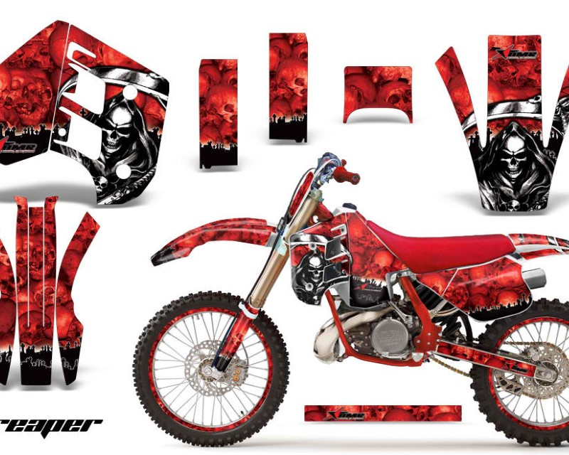 AMR Racing Graphics MX-NP-KTM-C8-90-92-RP R Kit Decal Wrap + # Plates For KTM EXC250 EXC300 MXC250 MXC300 1990-1992áREAPER RED