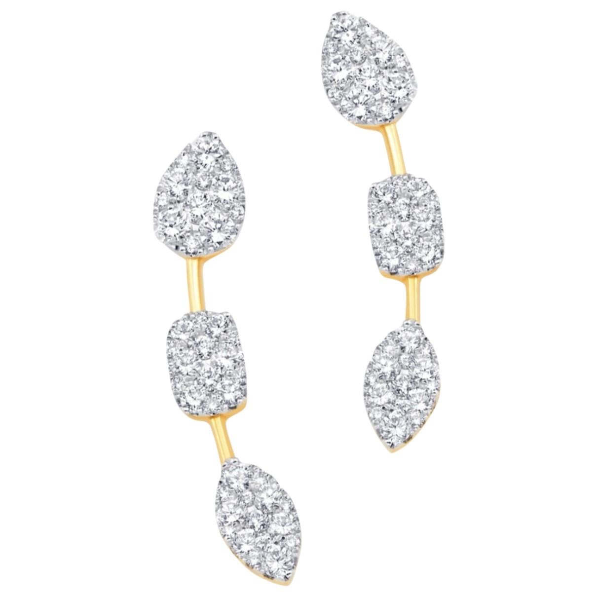 - Boucles doreilles   pour femme en or jaune - blanc