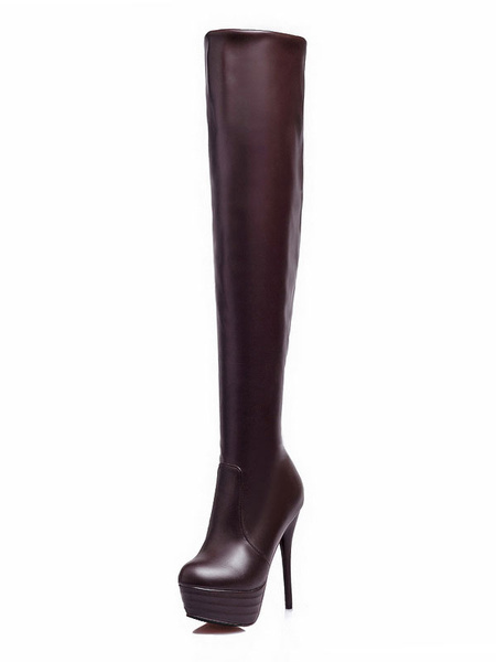 Milanoo Platform Over The Knee Boots Womens PU Solid Color Round Toe Stiletto Heel Boots