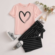 T-Shirt mit Herzen Muster & Hose mit Guertel und Streifen Set