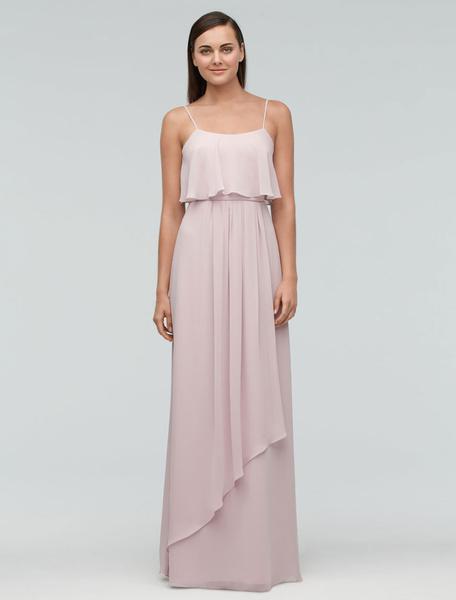 Milanoo Dusty Pink Bridesmaid Dress Chiffon Maxi Wedding Party Dress Backless Straps A Line Occasion Dress