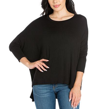 24/7 Comfort Apparel Womens Long Dolman Sleeve Oversized Top, Medium , Black