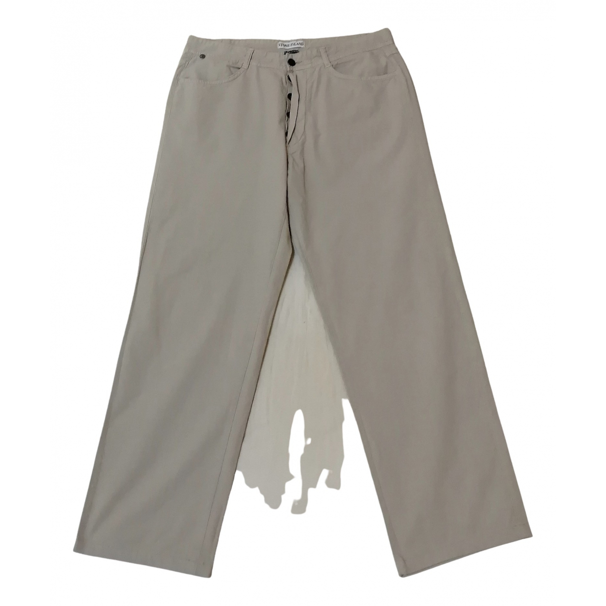 Pantalones en Algodon Beige Stone Island