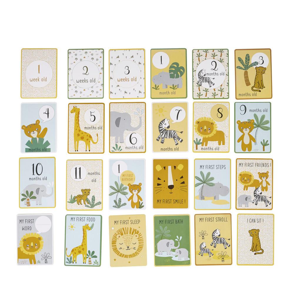 Erinnerungskarten fuer die ersten 12 Babymonate, aus bedrucktem Papier