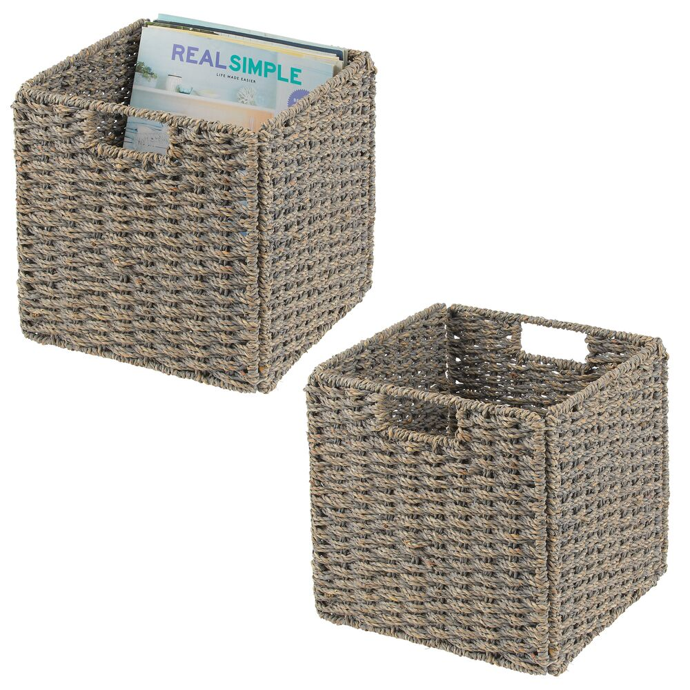 Natural Woven Storage Cube Basket Bins - Pack of in Gray, 10.5