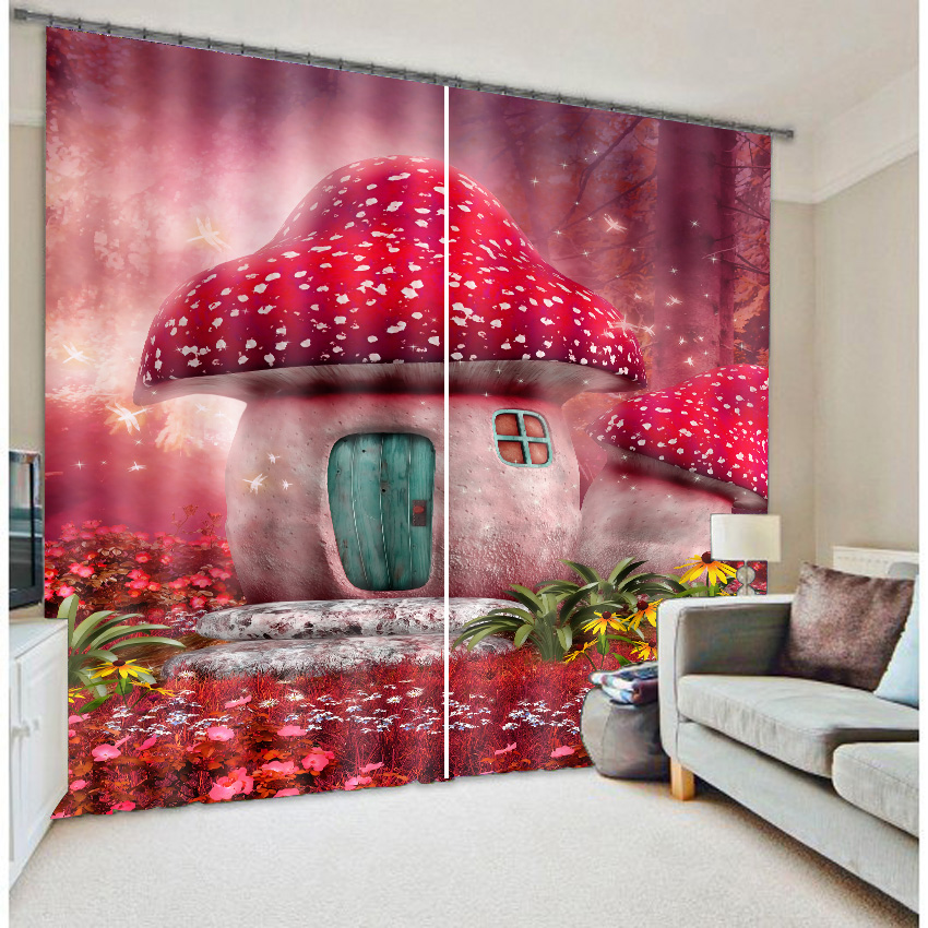 3D Lovely Red Mushrooms in Dreamy Forest Printed Decorative and Blackout Baby's Room Curtain