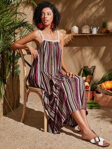 Multi-striped Open Back Maxi Cami Dress