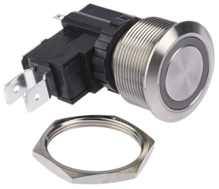 RS PRO Single Pole Double Throw (SPDT) Momentary White LED Push Button Switch, IP67, 25.2 (Dia.)mm, Panel Mount, 250 / (20)