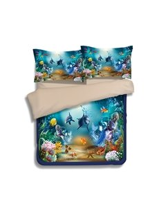 Dreamy Dolphin and Mermaid Print 4-Piece Polyester Duvet Cover Sets