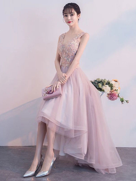 Milanoo Pink Prom Dresses Lace V Neck High Low Graduation Dress Asymmetrical Party Dress