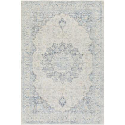 Oregon ORG-2307 8' x 10' Rectangle Traditional Rug in Navy  Sky Blue  Bright Yellow