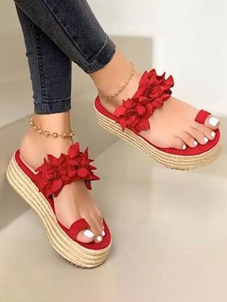 Milanoo Women Flatform Slides Green Toe Loop Flowers Espadrilles Sandals