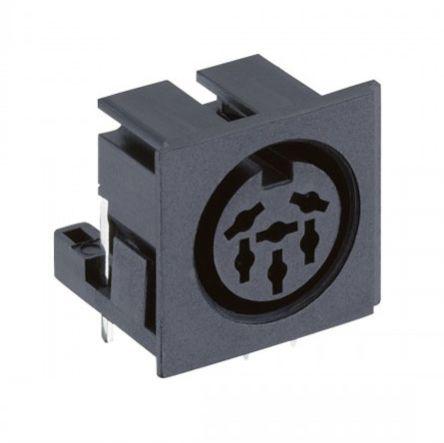 Lumberg 8 Pole Right Angle Din Socket Socket, DIN 45326, 4A, 24 V ac, Plug-In (5)