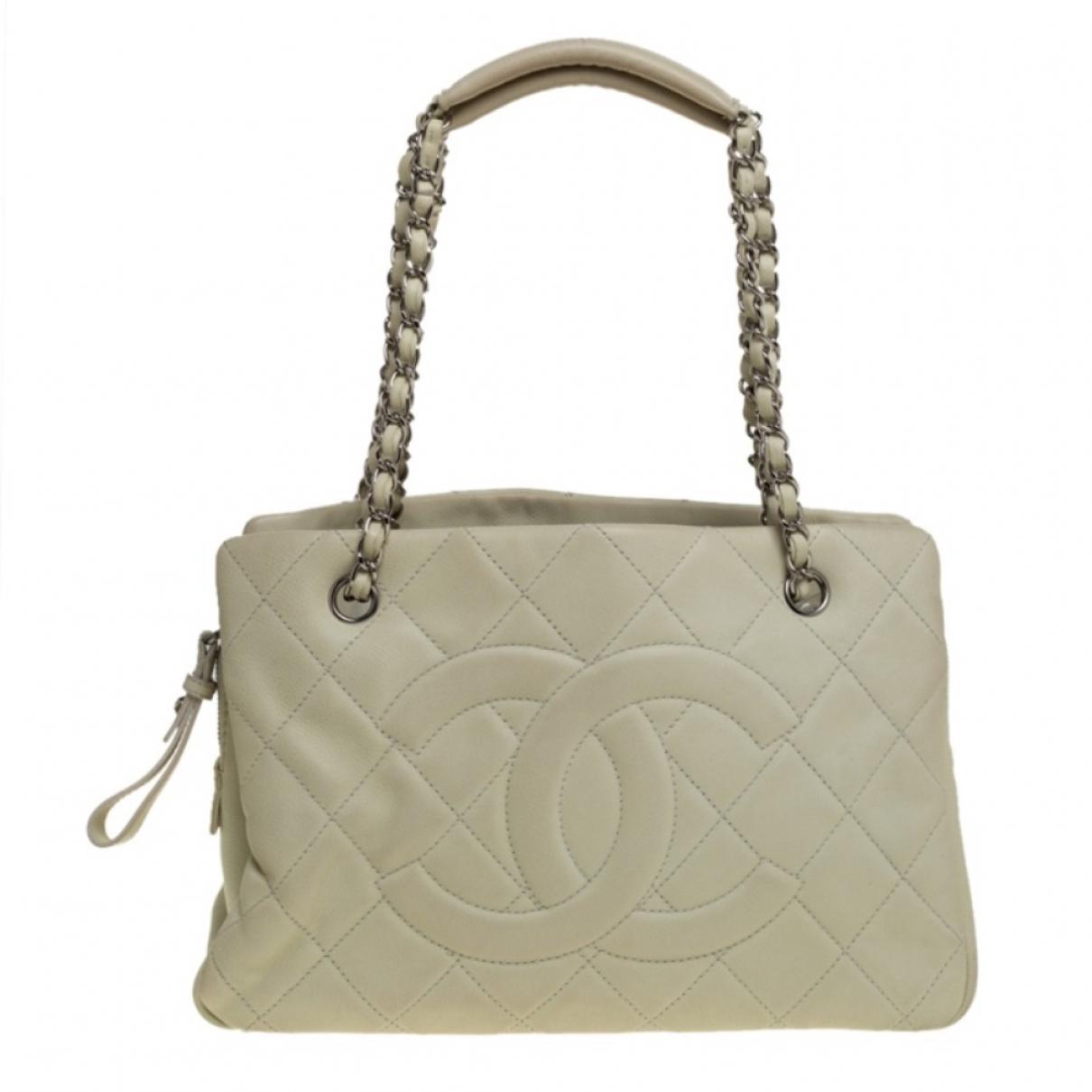 Chanel - Sac a main Timeless/Classique pour femme en cuir - blanc