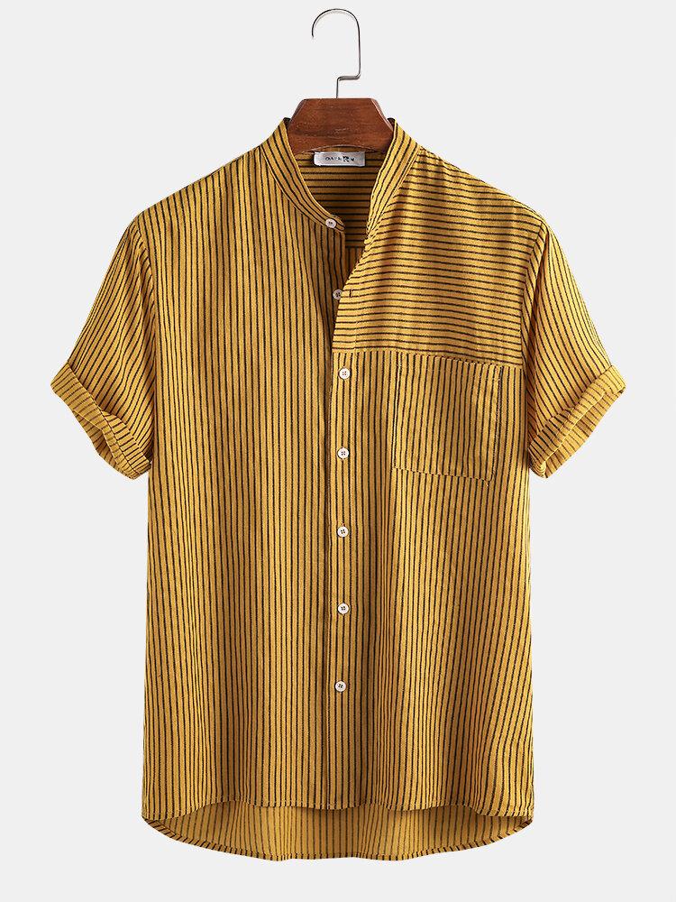 Mans 100% Cotton Stripe Patchwork Stand Collar Casual Short Sleeve Shirt