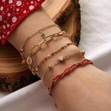 5 piezas pulsera de cadena con diseño de corazon y cuenta