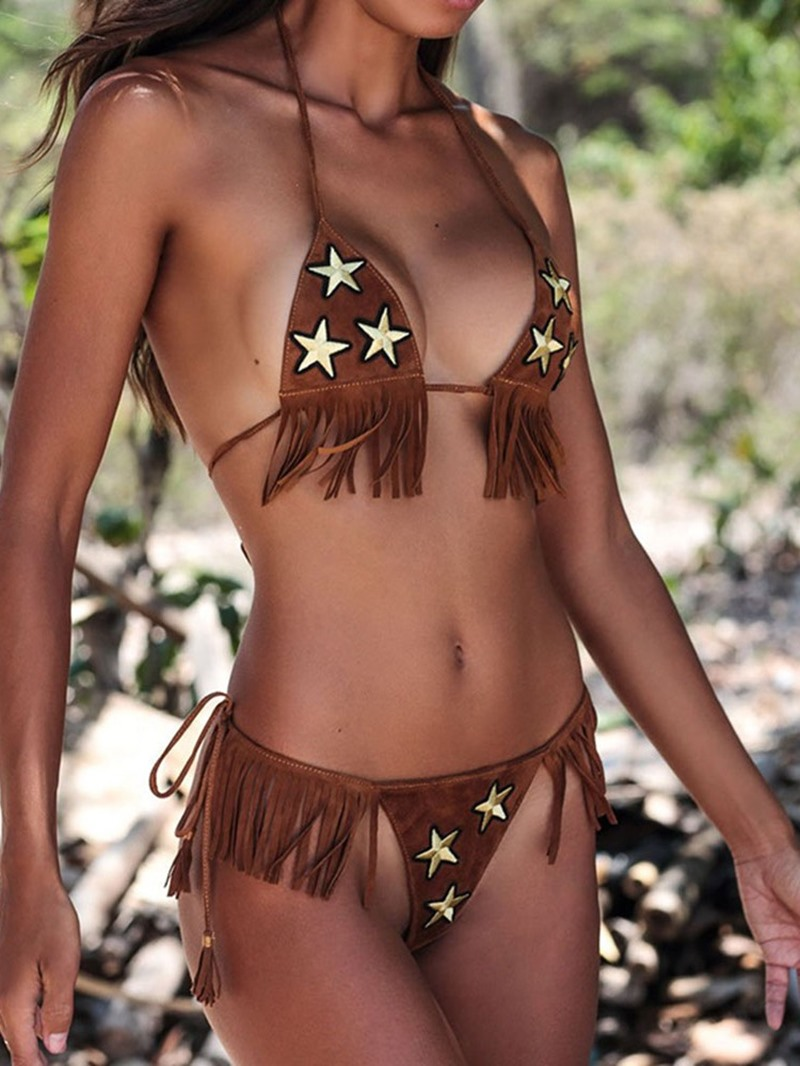 Ericdress Beach Look Star Tassel Lace-Up Sexy Bikini Set
