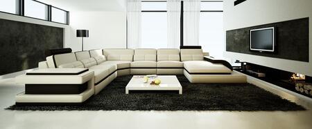 VGEV6122 Divani Casa 6122 Modern Cream and Black Bonded Leather Sectional