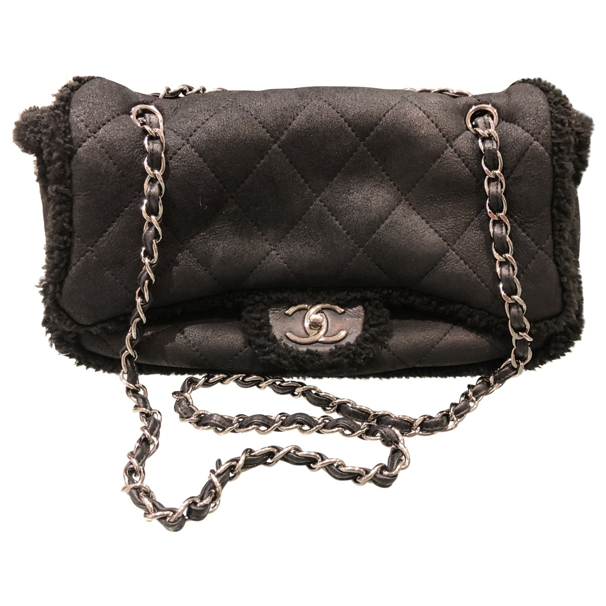 Chanel Timeless/Classique Handtasche in  Schwarz Schaf