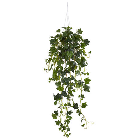 English Ivy Hanging Basket Artificial Plant, One Size , Green