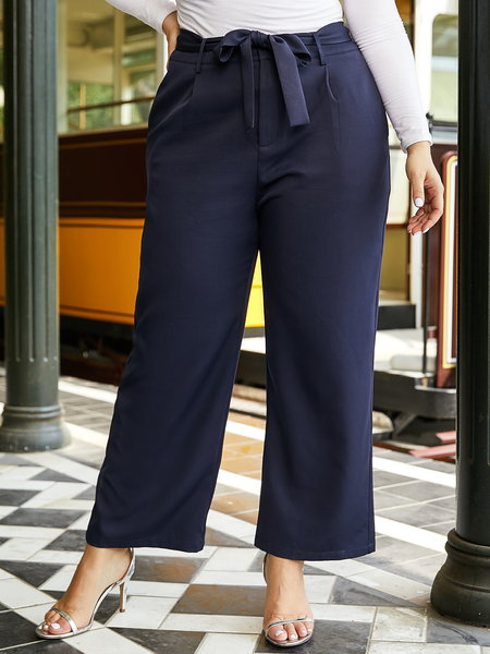 YOINS Plus Size Navy Side Pockets Middle-Waisted Pants